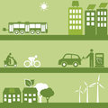 Alternative fuel and solar buildings energy for transportation Stock Images