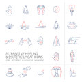 Alternative healing and esoteric linear icons set blue and red