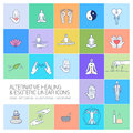 Alternative healing and esoteric linear icons set
