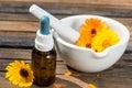 Alternative medicin with calendula flowers Stock Images