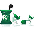 Alternative medicine concept illustration showing a prescription icon with a couple of leaves on top to represent Stock Image
