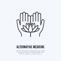 Alternative medicine flat line icon, logo. Vector illustration of lotos flower in hands for traditional treatment