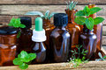 Alternative medicine homeopathy natural bottles and herbs Royalty Free Stock Photos