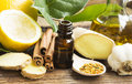 Alternative medicine with lemon oil pollen cinnamon ginger and garlic Royalty Free Stock Photos