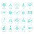 Alternative medicine line icons. Naturopathy, traditional treatment, homeopathy, osteopathy, herbal fish and leech