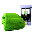 Alternative power concept eco car grass covered next to a bio fuels pump on a white background renewable energy Stock Photos