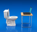 Alternative workplace d concept with toilet bowl desk and notebook Stock Image