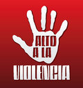 Alto a la violencia stop violence spanish text hand illustration and Stock Photography
