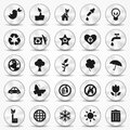 Aluminium ecology icons set environment symbols green illustrated with illustrator cs and eps vector with transparency Royalty Free Stock Photography
