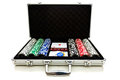 Aluminium suitcase with poker set Royalty Free Stock Photos