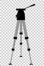 Aluminium Tripod for photography or video Camera at transparent effect background Royalty Free Stock Photo