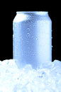Aluminum Can in Ice with cool tones Stock Photography