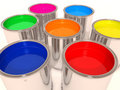 Aluminum cans of paint color Royalty Free Stock Image