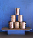 Aluminum cans with rust stacked Royalty Free Stock Image