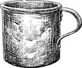 Aluminum cup vector drawing of the old tin Stock Photography
