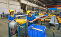 Aluminum factory workshop on july several workers work in foshan wei chang in recent years china s economy continues to grow is Royalty Free Stock Photo