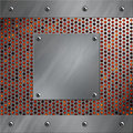 Aluminum frame and perforated metal with lava Royalty Free Stock Photo