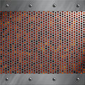 Aluminum frame and perforated metal with lava Stock Photos
