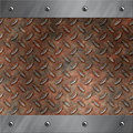 Aluminum frame and rusted diamond metal Royalty Free Stock Photography