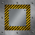 Aluminum frame and warning stripes Royalty Free Stock Photo