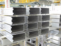 Aluminum lines stock rack in a factory Royalty Free Stock Photos