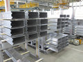 Aluminum lines stock rack in a factory Stock Image