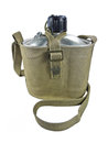 Aluminum military flask army water canteen isolated on a white background Stock Photos