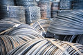 Aluminum rolls of metal fittings steel armature heavy industry production Royalty Free Stock Photos