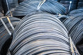 Aluminum rolls of metal fittings steel armature heavy industry production Stock Photo