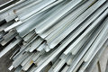 Aluminum stacked on the construction site Royalty Free Stock Images
