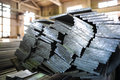 Aluminum stacked metal sheets heavy industry production Stock Photography