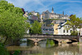 Alzette river in the Grund, Luxembourg Royalty Free Stock Photo