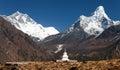 Ama Dablam and Lhotse with stupa Royalty Free Stock Photo
