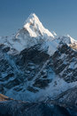Ama dablam summit of from route to kala patthar khumjung solu khumbu nepal Royalty Free Stock Photo