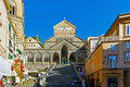 Amalfi cathedral with people in a sunny day Stock Photos