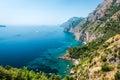 Amalfi coast italy via nastro azzurro stunning landscape with hills and mediterranean sea Stock Photography