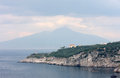 Amalfi coast near massa lubrense along the tyrrhenian sea in italy at the background the vesuvius volcano Royalty Free Stock Photo