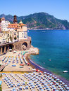 Amalfi coast view of atrani and colorful beach italy Stock Image