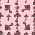 Amanita fly agaric toadstool mushrooms fungus seamless pattern art style design vector illustration.