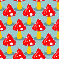 Amanita seamless pattern hallucinogenic mushroom red mushroom with white spots Stock Photo