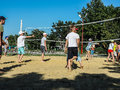 Amateur beach volleyball competition in the children's recreation camp in Anapa in the Krasnodar region of Russia.