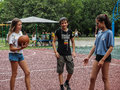 Amateur competition in basketball in the children's recreation camp in Anapa in the Krasnodar region of Russia.