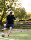 Amateur corner kick Royalty Free Stock Photo
