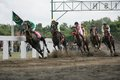 Amateur horse race jockeys during an racing event at wonogiri central java indonesia Stock Photos
