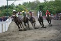 Amateur horse race jockeys during an racing event at wonogiri central java indonesia Royalty Free Stock Photos