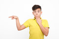 Amazed boy pointing on a side Royalty Free Stock Photo