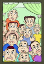 Amazed faces hand draw cartoon illustration of face over the window Stock Image