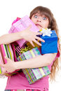 Amazed girl with gifts Royalty Free Stock Image