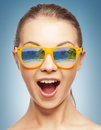 Amazed girl in shades Stock Photography