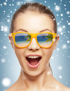 Amazed girl in shades holidays beauty and happiness with beach reflection Royalty Free Stock Images